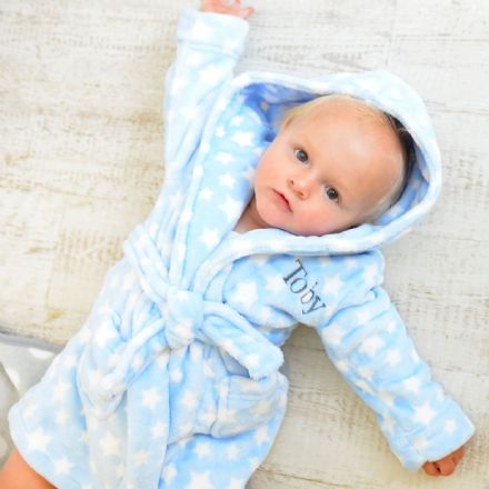 Personalised Star Soft Baby Dressing Gown